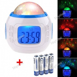 Часы-будильник с подсветкой, календарем, термометром, музыкой и проектором звездного неба в комплекте с 4 ааа-аккумуляторами