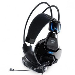 E-blue corba 707 headband type 3.5mm-plug wired computer gaming headset with mic blue led (black)