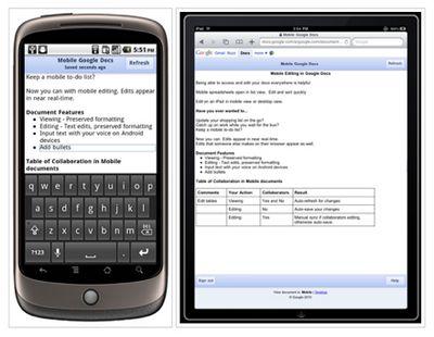 Google docs научился работать с iphone, ipad и android
