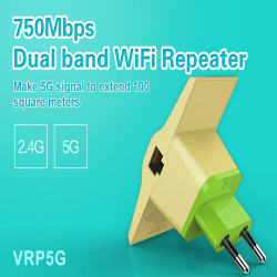Компактный мост-репитер vonets vrp5g с поддержкой частоты 2,4 и 5 ггц для расширения покрытия wifi