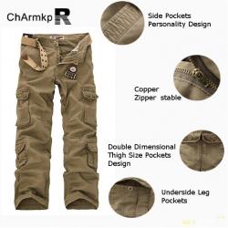 Мужские штаны в стиле милитари с 10 карманами