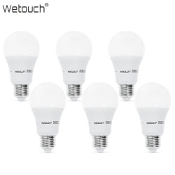 Набор из 6 светодиодных led ламп wetouch 9w ( a60 800lm 3000k cri 80) . сравнение с лампами накаливания и клл.