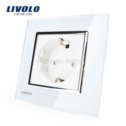Розетка евро стандарта стеклянная белая от livolo