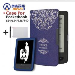 Твёрдая обложка для электронных книг pocketbook 614/624/626/640 + защитная пленка + стилус