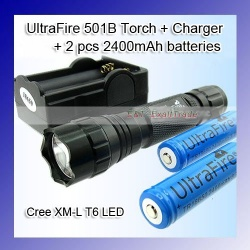 Ultrafire wf-501b cree xm-l t6 1200 lumens led flashlight torch +2 x 18650 2400mah battery+charger