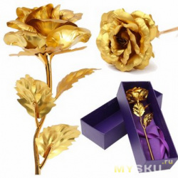 Золотая роза в подарочной упаковке.